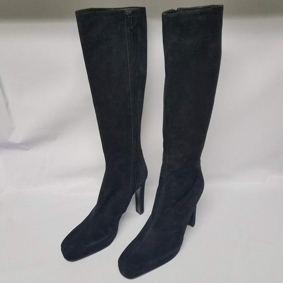 b9845d5c95a Gucci Shoes - GUCCI Black Suede Italian Knee High Platform Boots